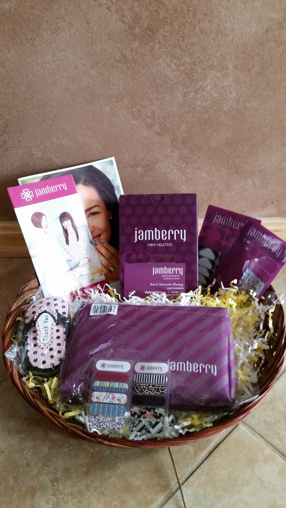 RAFFLE #48 Jamberry Thank you to Karri Narowitz Hwang for donating this basket! • Mini Heater • Two Nail Wrap Sheets • Application Kit • Manicure set Value: $75 Raffle open to everyone.