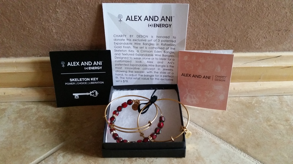 RAFFLE #67 Alex & Ani Bracelets Thank you to Alex & Ani for donating this item. Charity By Design: 3 Patented Expandable Wire Bangles in Rafaelian Gold Finish. The set is comprised of the Skeleton Key, a Crimson Eden Bangle, and Textured Expandable Wire Bangle. Designed to wear alone or to layer for a customized look. Value: $78 Raffle open to everyone.