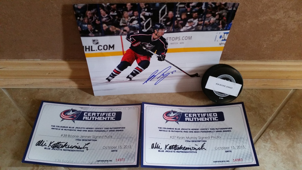 RAFFLE #66 HOCKEY LOVERS Thank you to the Lake Erie Monsters & the Columbus Blue Jackets for donating these items! • 2 Club Seats to a mutually agreed Monster's Game • Columbus Blue Jackets Autographed Hockey Puck signed by #38 Boone Jenner • Columbus Blue Jackets Autographed Photo signed by #27 Ryan Murray • Value: $100