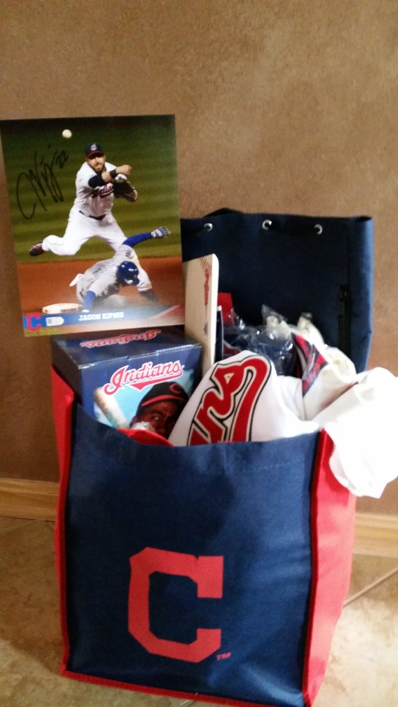 RAFFLE #77 Indians Thank you to Bethany and Nate Daymut for this donation! • Two Indian's Tickets for the 2016 Baseball Season • Autographed Photo signed by: Jason Kipnis • THREE Indian's Jerseys (XL) • Indian's T-Shirt • Larry Doby Bronze Statue • Indian's Merchandise Value: Priceless Raffle open to local participants only due to prize location.