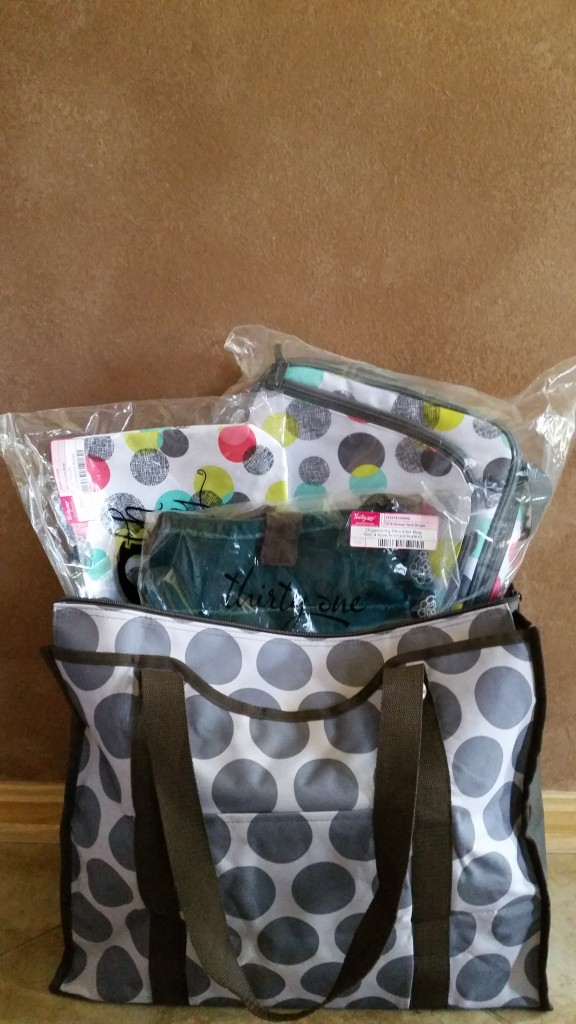 "RAFFLE #86 31 Products! Thank you to Jackie Sanker & Monica James for donating this item and for Carol Lyons for making it happen! • ""Punch Bowl"" Design Insulated thermal cooler AND Zipper Pouch • Organizing Shoulder Bag • Large Tote Value: $200 Raffle open to everyone!"