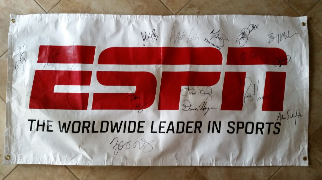 RAFFLE #88 ESPN Autographed Banner Thank you to ESPN and Mark Lowrie for making this happen! • ESPN Banner personally autographed by 15 on-air ESPN personalities • 29 ¾ Tall X 59 Long • Signed by: (info to follow) Value: ABSOLUTELY PRICELESS Raffle open to everyone!