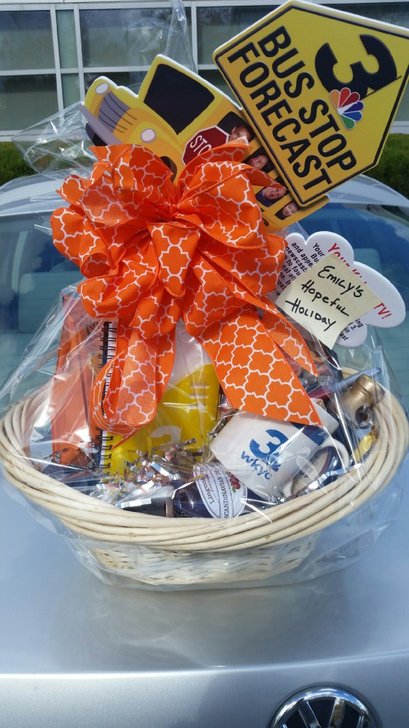 RAFFLE #63 WKYC Thank you to WKYC Channel 3 for donating this basket. • Bus Stop Forecast – Your child gets to appear on a Channel 3 News weather segment • Coffee • Pancake Mix • Syrup • Fruit Spread • WKYC Mug, Pen, Journal Value: PRICELESS Raffle open to local participants only.