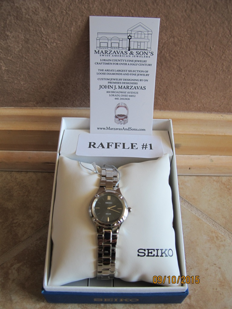 RAFFLE # 1 Marzavas & Sons WATCH #1 Thank you to Marzavas & Sons, Lorain for donating this item! SEIKO Ladies Watch •Water Resist to 50M • Solar • Hardlex Crystal Retail Value: $195 *Raffle open to everyone