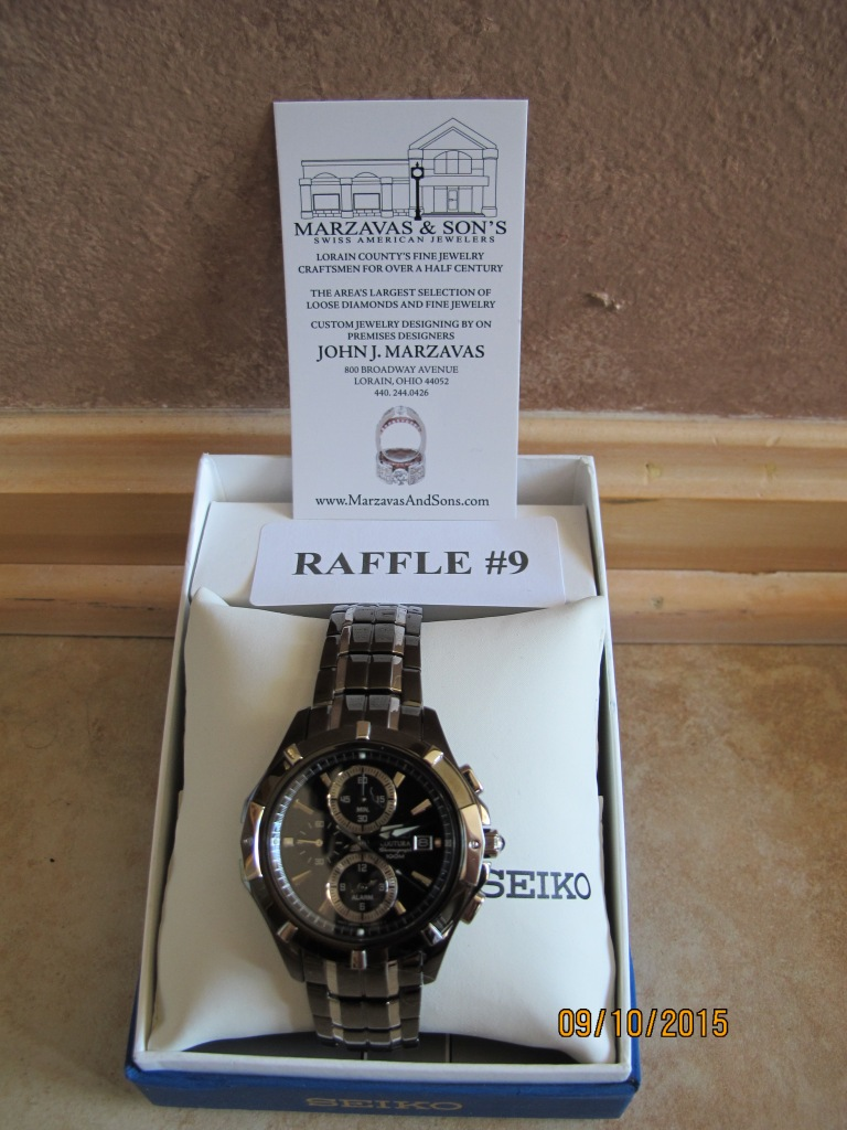 RAFFLE #9 Marzavas & Sons WATCH #2 Thank you to Marzavas & Sons, Lorain for donating this item! Seiko Cotura Men's Watch Retail Value: $495 *Raffle open to everyone