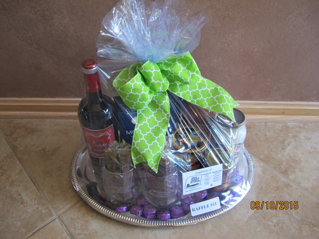 RAFFLE #11 First Federal Savings & Loan Italian Basket Thank you to First Federal for donating this basket to EHH! •Bottle of Red Wine • Pasta • Sauce • Pesto • Glasses • Biscotti • Tray Value: $50 *Raffle open to local participants only due to prize size.