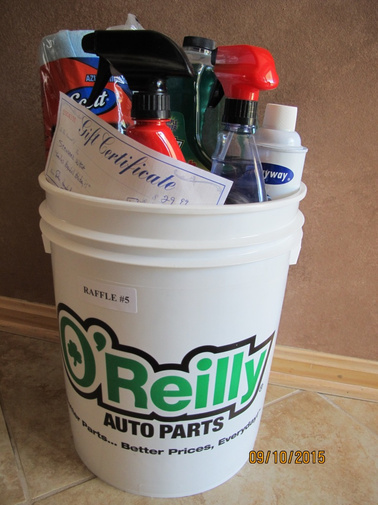 RAFFLE #5 Take Care of your CAR Thank you to O'Reilly's, Amherst & Felix's Auto Detailing, Amherst for donating these items! •Bucket of items to detail your car from O'Reilly's Auto Parts • Standard Wash at Felix Auto Detailing in Amherst Value: $60 *Raffle open to local participants only due to prize size.