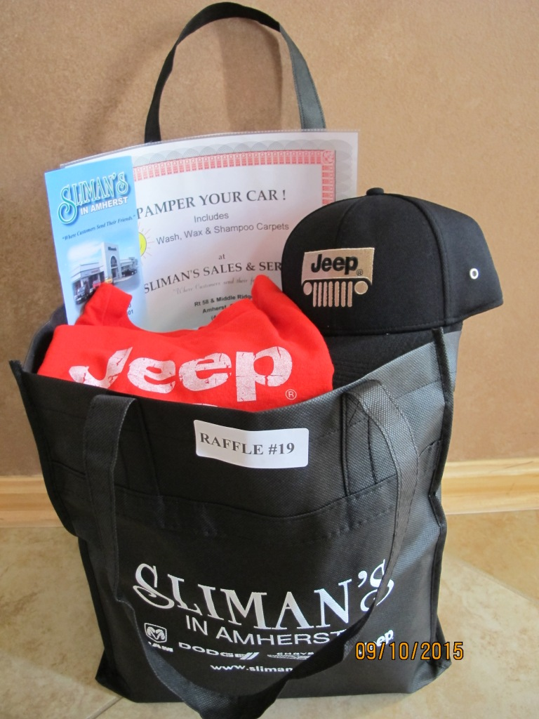 RAFFLE #19 Sliman's Thank you to Sliman's, Amherst for donating these items! •Car Recondition Package • Jeep Hat • Jeep Shirt • Sliman's bag Value: $170 *Raffle open to local participants only due to prize location.